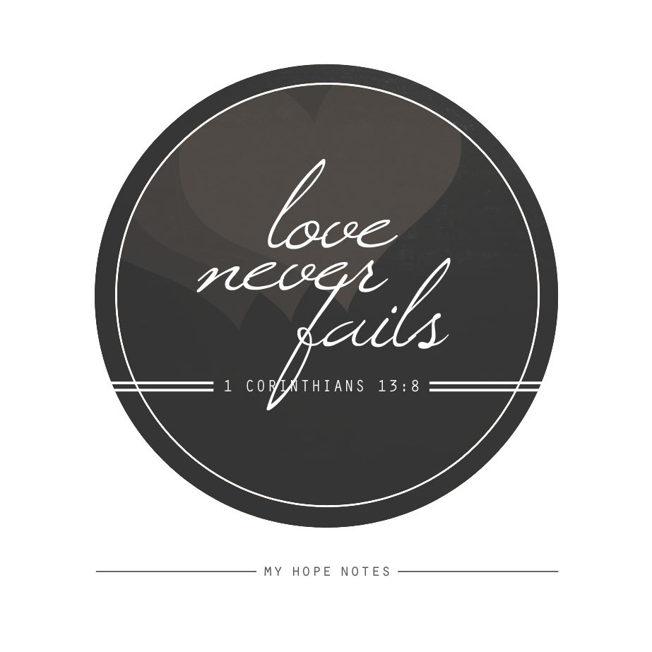 Love Never Fails Quote Love Never Fails  My Hope Notes